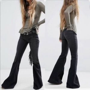 Free People black washed pull on flare jeans